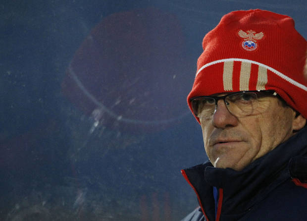 Russian Soccer manager Fabio Capello during a training session at Windsor Park, Belfast, Northern Ireland, Thursday, March 21, 2013. The team were training ahead of their World Cup 2014 Qualifying Group F match against Northern Ireland on Friday.  (AP Photo/Peter Morrison)