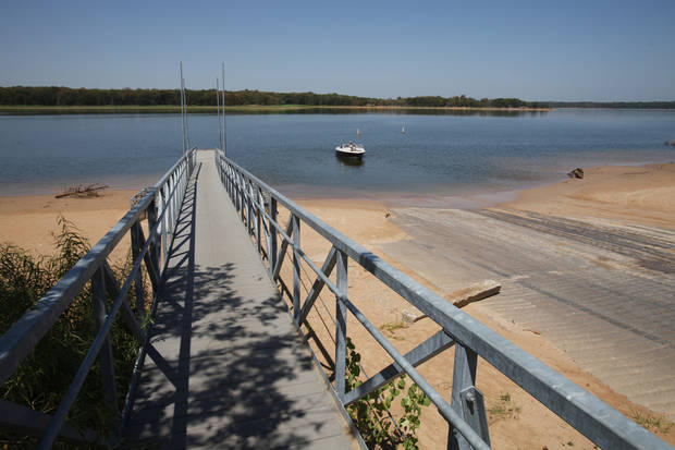 The boat ramp at Turkey Pass extends deep into sand as water levels dip at Lake Thunderbird on Tuesday, August 9, 2011, in Norman, Okla.  Photo by Steve Sisney, The Oklahoman