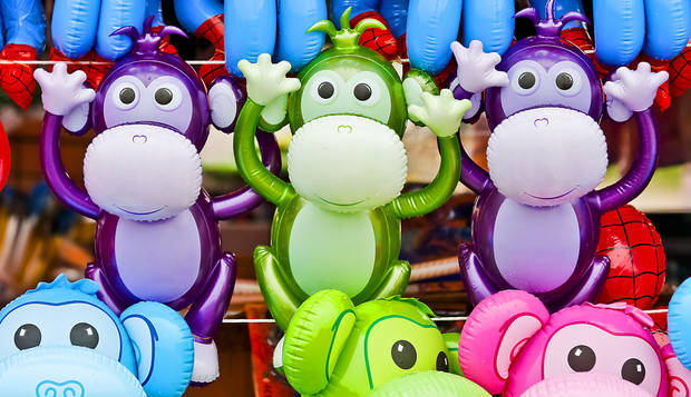 Colorful prizes waiting to be won in the midway at the Oklahoma State Fair at State Fair Park on Friday, Sept. 14, 2012, in Oklahoma City, Oklahoma.  Photo by Chris Landsberger, The Oklahoman