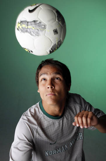 HIGH SCHOOL SOCCER: Brandon Little Axe of Norman North, All-City Boys Soccer Player of the Year, poses for a photo at the OPUBCO Studio in Oklahoma City, Wednesday, May 30, 2012.  Photo by Nate Billings, The Oklahoman