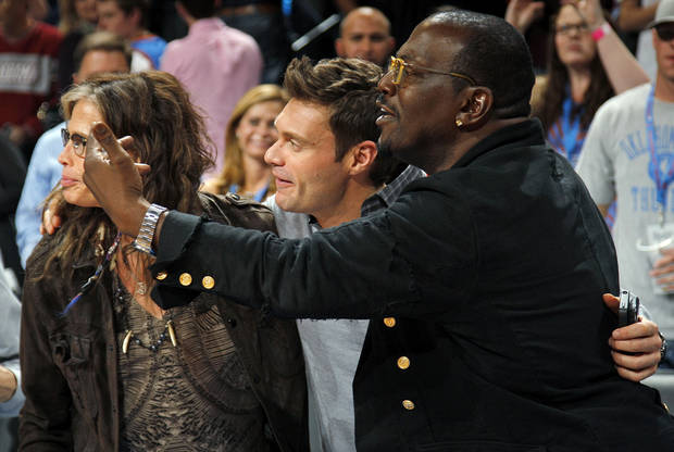 Randy Jackson, right, Ryan Seacrest, middle, and Steven Tyler gather together after an NBA basketball game between the Detroit Pistons and the Oklahoma City Thunder at the Chesapeake Energy Arena in Oklahoma City, Friday, Nov. 9, 2012. Oklahoma City won, 105-94. Photo by Nate Billings, The Oklahoman