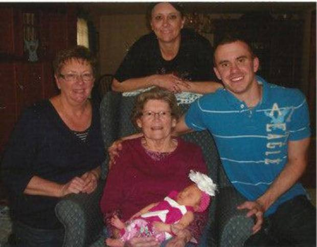 Juanita Westfall, center, poses with  her daughter Shirley, granddaughter Melissa, great-grandson Ryan and newest great-great-granddaughter Kamri. Photo provided. <strong></strong>