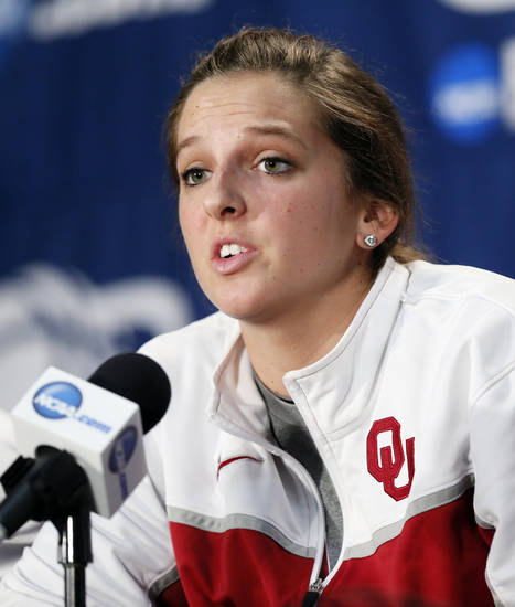 OU's Morgan Hook (10) speaks to the media during the press conference and practice day at the Oklahoma City Regional for the NCAA women's college basketball tournament at Chesapeake Energy Arena in Oklahoma City, Saturday, March 30, 2013. Photo by Nate Billings, The Oklahoman