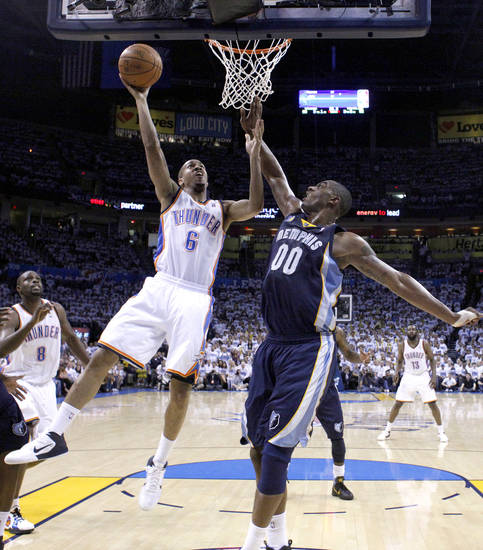 Oklahoma City's Eric Maynor (6) shoots a lay up as Darrell Arthur (00) of Memphis defends during game five of the Western Conference semifinals between the Memphis Grizzlies and the Oklahoma City Thunder in the NBA basketball playoffs at Oklahoma City Arena in Oklahoma City, Wednesday, May 11, 2011. Photo by Sarah Phipps, The Oklahoman