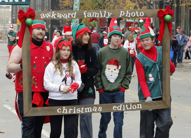Runners use creative costumes during the SandRidge Santa Run in downtown Oklahoma City, OK, Saturday, December 8, 2012,  By Paul Hellstern, The Oklahoman