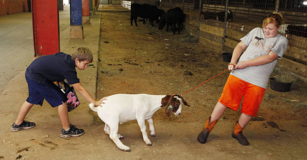 It takes some insistence from Luther 11-year-olds Christian Stewart and Tynan Jones to move Tres, a goat, during the Oklahoma County Free Fair at State Fair Park in Oklahoma City, Friday, Aug. 27, 2010. Photo by Paul Hellstern, The Oklahoman