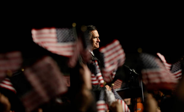 Republican presidential candidate, former Massachusetts Gov. Mitt Romney speaks during a campaign event at the Newport News International Airport, Sunday, Nov. 4, 2012, in Newport News, Va. (AP Photo/David Goldman)