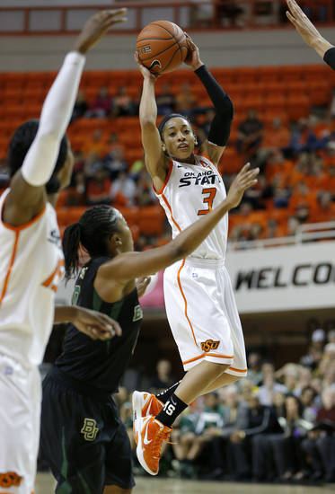Oklahoma State's Tiffany Bias (3) passes the ball during a women's college basketball game between Oklahoma State University and Baylor at Gallagher-Iba Arena in Stillwater, Okla., Saturday, Feb. 2, 2013. Photo by Bryan Terry, The Oklahoman