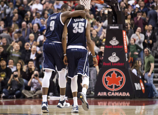 Kevin Durant went up to Canada and dropped 51 points on the Toronto Raptors in one of the games of the season. The Thunder won 119-118 in double overtime. (AP Photo/The Canadian Press, Nathan Denette)