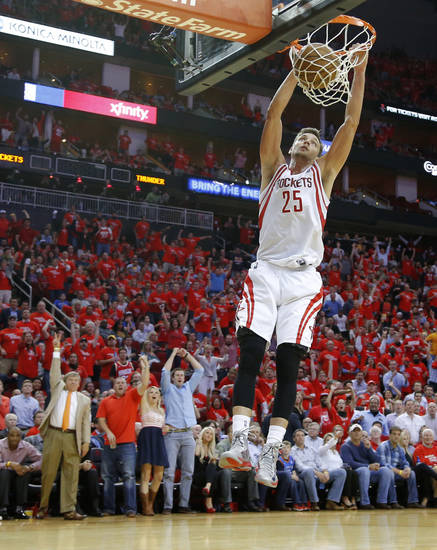 Houston's Chandler Parsons (25) dunks the ball during Game 4 in the first round of the NBA playoffs between the Oklahoma City Thunder and the Houston Rockets at the Toyota Center in Houston, Texas,Sunday, April 29, 2013. Oklahoma City lost 105-103. Photo by Bryan Terry, The Oklahoman