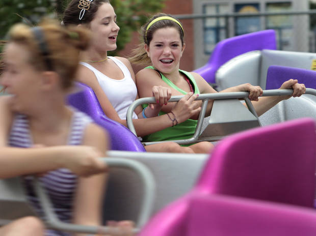 Aliya Reyes, and Breanna Eades, both 12, ride the Sizzler at the Lions Club Carnival on Saturday, April 28, 2012, in Norman, Okla.  Photo by Steve Sisney, The Oklahoman