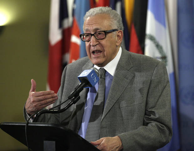 FILE - In this Nov. 29, 2012 file photo, Lakhdar Brahimi, Joint Special Representative of the United Nations and the League of Arab States for Syria, answers media questions after consultations at United Nations headquarters. A government airstrike on a bakery in a rebel-held town in central Syria killed more than 60 people, activists said, casting a pall over a visit by Brahimi, the international envoy charged with negotiating an end to the country&#039;s civil war. (AP Photo/Richard Drew, File)