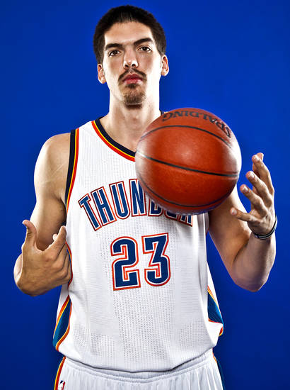 NBA BASKETBALL TEAM:  BYRON MULLENS poses for a photo during the Oklahoma City Thunder media day on Monday, Sept. 27, 2010, in Oklahoma City, Okla.   Photo by Chris Landsberger, The Oklahoman ORG XMIT: KOD