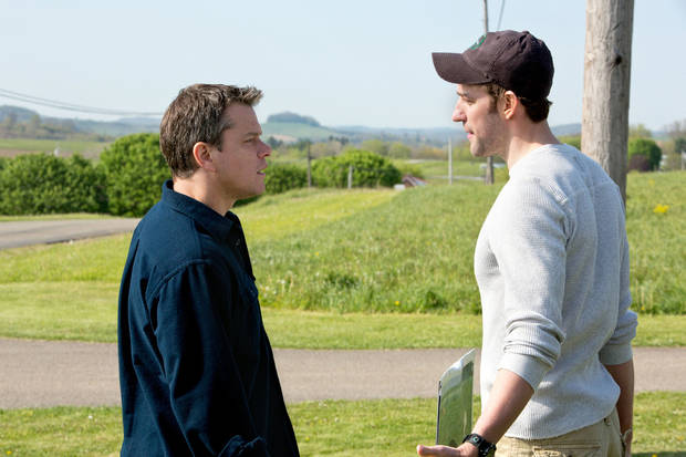 "Matt Damon, left, and John Krasinski are shown in a scene from ""Promised Land,"" which they co-wrote for the screen. FOCUS FEATURES PHOTO <strong></strong>"