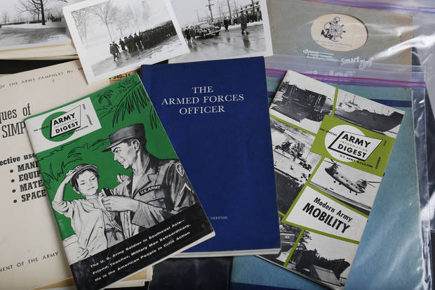 Rick Cacini donated items from his late father's collection of World War II and Korea items to the 45th Infantry Museum and the Fort Reno Museum.