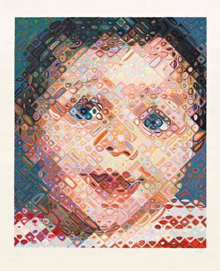 "Chuck Close's (American, b. 1940) 2002 work ""Emma, edition of 55, 2002,"" is a 113-color Japanese-style ukiyo-e woodcut. Photograph by Austin Kennedy, courtesy Pace Prints."