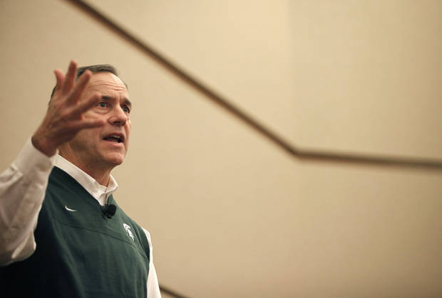 Michigan State coach Mark Dantonio speaks at the Michigan High School Football Coaches Associations' Winner's Circle clinic, Friday, Jan. 18, 2013, at the Radisson Plaza Hotel in downtown Kalamazoo, Mich. (AP Photo/Kalamazoo Gazette-MLive Media Group, Mark Bugnaski) ALL LOCAL TV OUT; INTERNET OUT