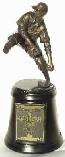 The Warren Spahn Award trophy, given to the top left-handed pitcher in baseball each year. Photo by Darl DeVault. PHOTO PROVIDED