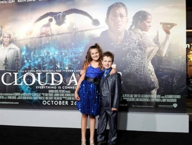 "Oklahoma child actors Raevan Lee Hanan, 10, and her brother Korbyn Hawk Hanan, 8, appear at the Los Angeles premiere of the movie ""Cloud Atlas,"" in which they both have roles. Photo provided."