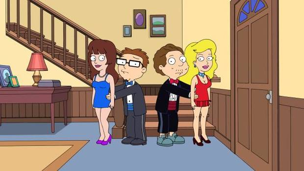 "AMERICAN DAD: Steve and Snot turn to the CIA's cloning machine to churn out two willing prom dates. But, when the device produces two uber-fast-growing newborn babies, the boys must break out their fathering skills to ready them in time for prom night in the all-new ""Steve and Snot's Test-Tubular Adventure"" season premiere episode of AMERICAN DAD airing at 8:30 p.m. Sunday, Sept. 29 on FOX. AMERICAN DAD ™ and © 2013 TCFFC ALL RIGHTS RESERVED."