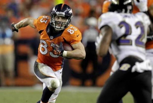 Denver Broncos wide receiver Wes Welker (83) rushes towards Baltimore Ravens cornerback Jimmy Smith (22) during the second half of an NFL football game, Thursday, Sept. 5, 2013, in Denver. (AP)