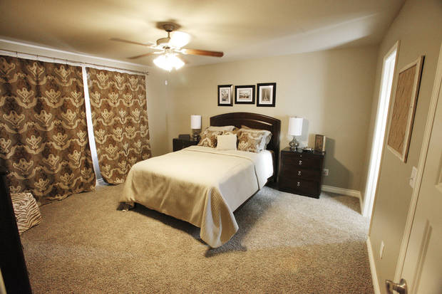 Master bedroom of a model home by Ideal Homes at 11424 NW 131 in the Buffalo Grove area of the Village Verde addition. <strong>PAUL B. SOUTHERLAND - The Oklahoman</strong>