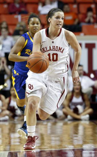 Oklahoma&#039;s Morgan Hook (10) brings the ball up court during the second half as the University of Oklahoma Sooners (OU) play the Riverside Highlanders in NCAA, women&#039;s college basketball at The Lloyd Noble Center on Thursday, Dec. 20, 2012  in Norman, Okla. Photo by Steve Sisney, The Oklahoman