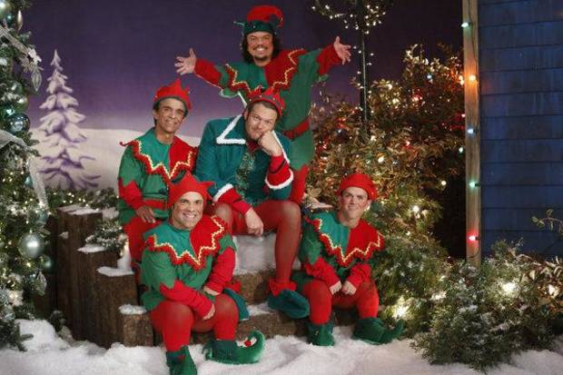 Oklahoma country music superstar Blake Shelton dons tights and frolics with elves on his first holiday TV special, �Blake Shelton�s Not-So-Family Christmas,� airing at 9 p.m. Monday on NBC.  Photo by Lewis Jacobs/NBC