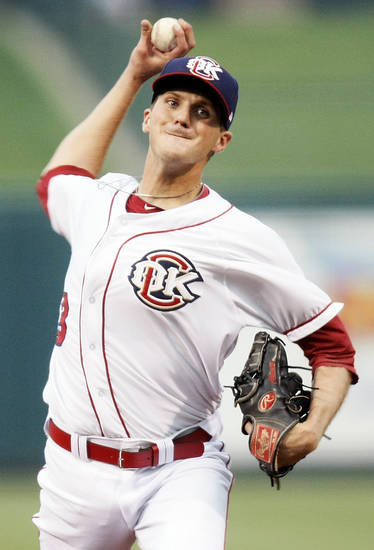 Paul Clemens (13) pitches for Oklahoma City during the 2012 opening day baseball game between the Oklahoma City RedHawks and the Memphis Redbirds at the Chickasaw Bricktown Ballpark in Oklahoma City, Thursday, April 5, 2012. Photo by Nate Billings, The Oklahoman