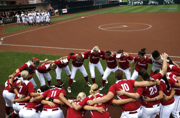 Oklahoma cheers before the Norman Regional of the 2013 NCAA Division I Softball Women's College World Series as the University of Oklahoma (OU) Sooners play the Arkansas Razorbacks at Marita Hines Field, Sunday, May 19, 2013. Photo by Sarah Phipps, The Oklahoman
