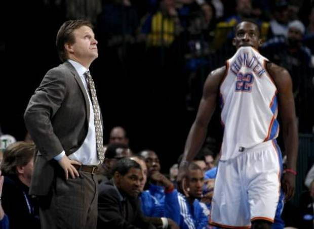 Scott Brooks (left) insists close games are more stressful on a coach than a player.