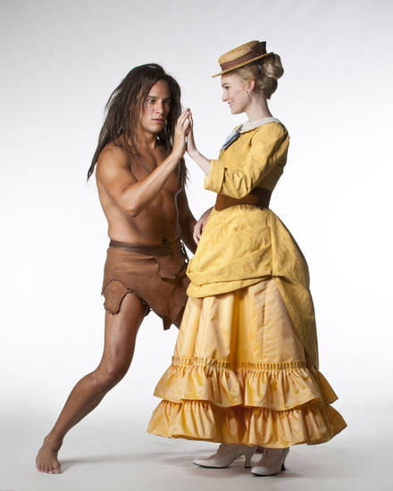 Tarzan (Nicholas Rodriguez) and Jane (Heather Botts) greet each other with palms outstretched.   Photo by Keith Rinearson  <strong>Photo by Keith Rinearson</strong>
