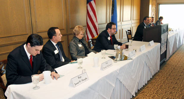 Edmond-area state Legislators speak during a pre-session breakfast sponsored by the Edmond Area Chamber of Commerce. Photo BY PAUL HELLSTERN, THE OKLAHOMAN