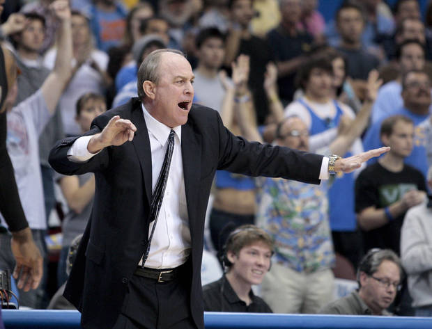 UCLA head coach Ben Howland reacts during the second half of an NCAA college basketball game against Washington, Saturday, March 3, 2012, in Los Angeles. UCLA won 75-69. (AP Photo/Jason Redmond)