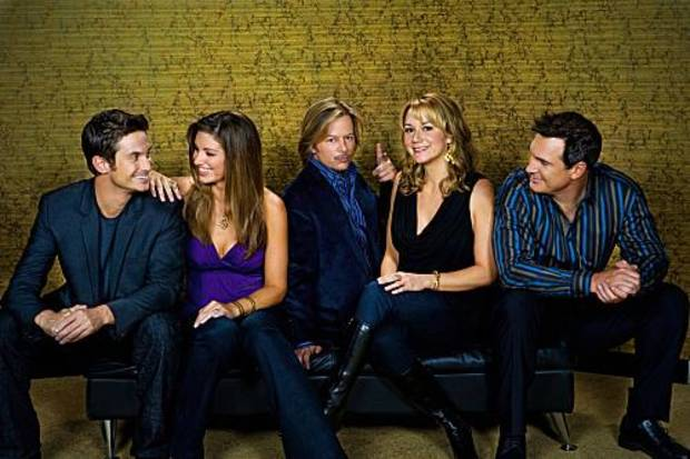 RULES OF ENGAGEMENT,  a comedy about the different phases of male/female relationships, as seen the through the eyes of an engaged couple, a long-time married pair and a single guy on the prowl. Pictured (L-R)  Oliver Hudson, Bianca Kajlich, David Spade,  Megyn Price and  Patrick Warburton  in the CBS series RULES OF ENGAGEMENT season premieres Monday, March 2 at 9:30 PM  on the CBS Television Network. Photo: Monty Brinton/CBS ©2008 CBS Broadcasting Inc. All Rights Reserved.