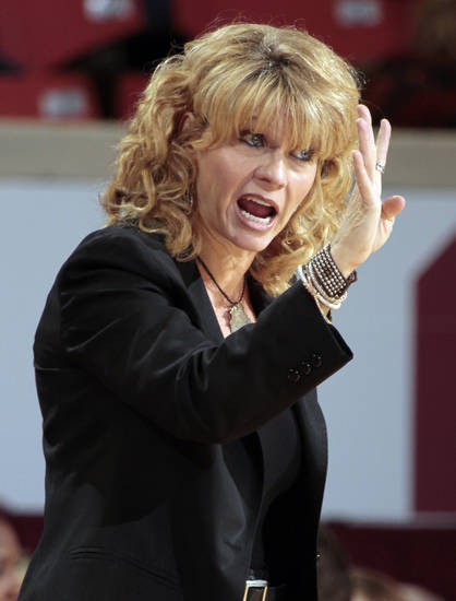 Oklahoma Sooner head coach Sherri Coale directs her team as the University of Oklahoma Sooners (OU) play the Texas Tech Lady Red Raiders in NCAA, women's college basketball at The Lloyd Noble Center on Saturday, Jan. 12, 2013 in Norman, Okla. Photo by Steve Sisney, The Oklahoman