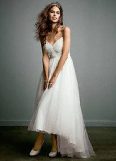 Galina tulle over chiffon bridal gown available from David's Bridal.
