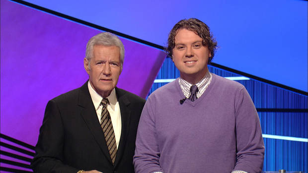"""Jeopardy!"" host Alex Trebek and Joshua Brakhage - Photo credit: Jeopardy Productions, Inc."