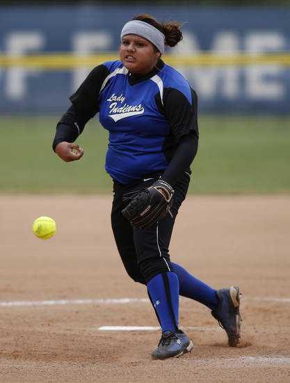 Little Axe's Andee Frazier (1) pitches during the 3A OSSAA Championship softball game between Little Axe and Sequoyah at ASA Hall of Fame Stadium in Oklahoma City, Saturday, Oct. 6, 2012.  Photo by Garett Fisbeck, The Oklahoman