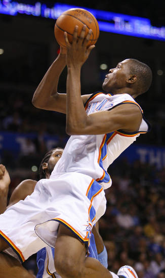 Kevin Durant shoots in the second half as the Oklahoma City Thunder play the Denver Nuggets at the Ford Center in Oklahoma City, Okla. on Friday, January 2, 2009.  Photo by Steve Sisney/The Oklahoman