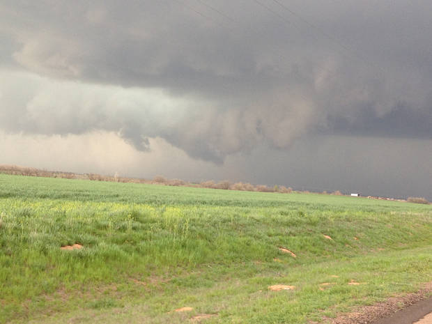 Wall cloud in Oklahoma, Sunday, March 18, 2012. Photo contributed by Jason Holden.