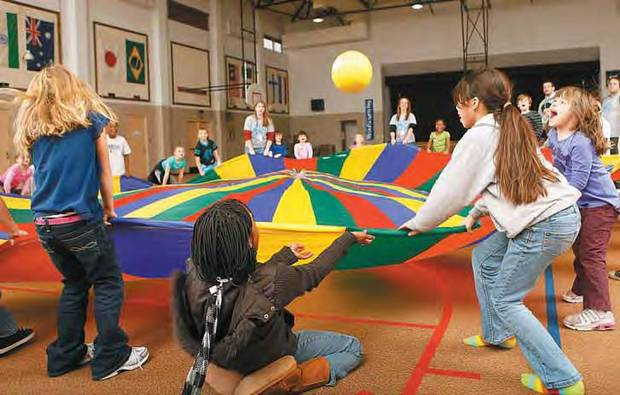 Students at Kennedy Elementary School�s after-school program play a game as part of a health education course aimed at fighting childhood obesity. OKLAHOMAN ARCHIVE PHOTO