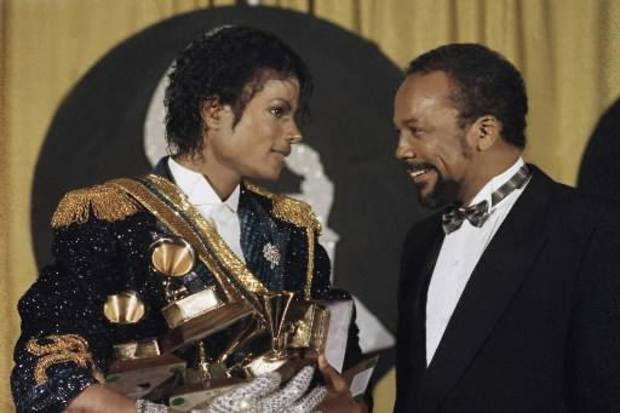 Michael Jackson and Quincy Jones backstage at the Grammy Awards in 1984