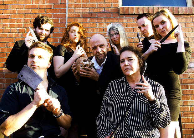 "Reduxion Theatre Company's cast of its macabre season-opening run of ""Night of the Grand Guignol"" includes (second row, from left) Tyler Waits, Rachael Barry, David Fletcher- Hall, Katie Barnett, Ian Clinton, Susan Riley; (first row) Jeremy Lister and Sue Ellen Reiman. Photo provided. <strong></strong>"