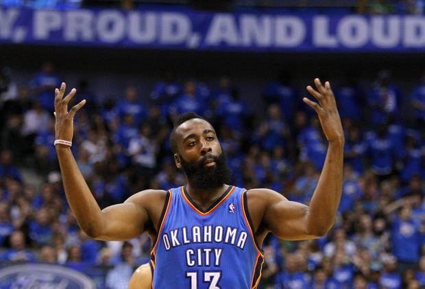 Oklahoma City's James Harden celebrates during Game 4 of the first round in the NBA playoffs between the Oklahoma City Thunder and the Dallas Mavericks at American Airlines Center in Dallas, Saturday, May 5, 2012. Oklahoma City won 103-97. Photo by Bryan Terry, The Oklahoman