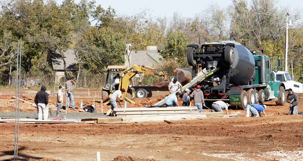 Streets were poured this week for Glenbrook Park, a new housing addition under way on the north side of NW 63 between Pennsylvania and Grand avenues in Nichols Hills. Developers say landscaping is next and that the five acres should be fully developed and ready for construction in December. Photo by PAUL B. SOUTHERLAND, The Oklahoman