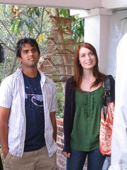 Sandeep Parikh as Zaboo and Felicia Day as Codex in &quot;The Guild.&quot;
