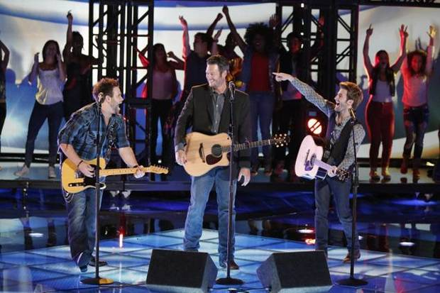 "Zach Swon, left, and Colton Swon, right, of The Swon Brothers perform with their coach and fellow Oklahoman Blake Shelton on the June 18 Season 4 finale of ""The Voice."" Photo by Tyler Golden/NBC"