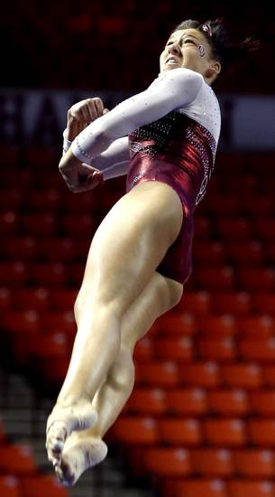 Taylor Spears makes her vault as the University of Oklahoma Sooners (OU) compete at the NCAA, Women's Gymnastics Regional at The Lloyd Noble Center on Saturday, April 6, 2013  in Norman, Okla. Photo by Steve Sisney, The Oklahoman