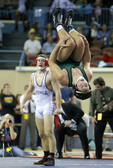 Norman North's Levi Berry celebrates after beating Brannon Hunt of Ponca City during the Class 6A 160-pound championship match during the state wrestling championships at the State Fair Arena in Oklahoma City, Saturday, Feb. 23, 2013. Photo by Bryan Terry, The Oklahoman